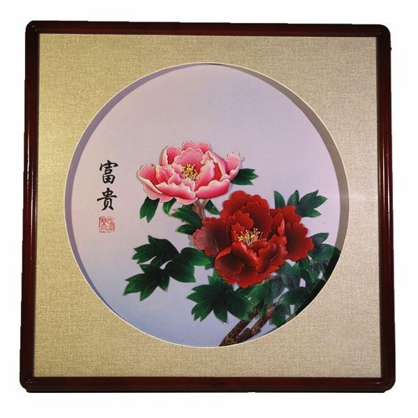 张杰真皮手工艺品羊皮立体花卉家居装饰画fgb4501白底小花富贵图