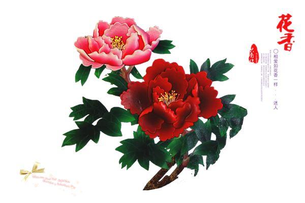 卉植物创意手工贴画-具象图案其内容可以分为花卉图案