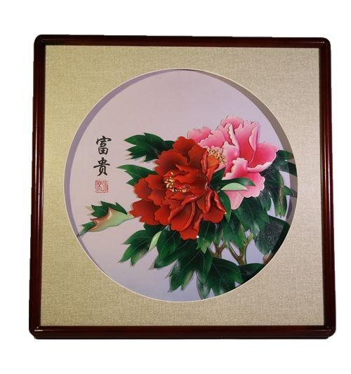 张杰手工羊皮立体花卉装饰画白底大花富贵图