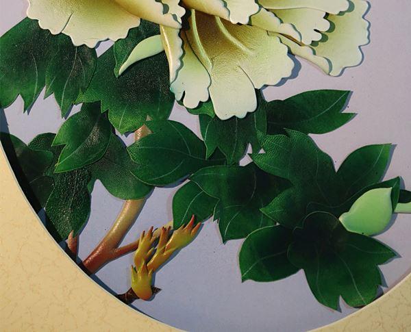 张杰手工羊皮立体花卉装饰画白牡丹