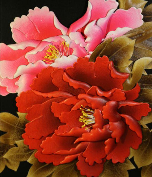手工花朵贴画作品