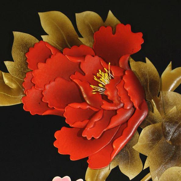 张杰手工羊皮立体花卉装饰画黑底牡丹