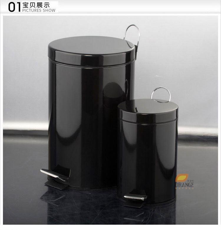 欧润哲圆形不锈钢脚踏黑色垃圾桶套装