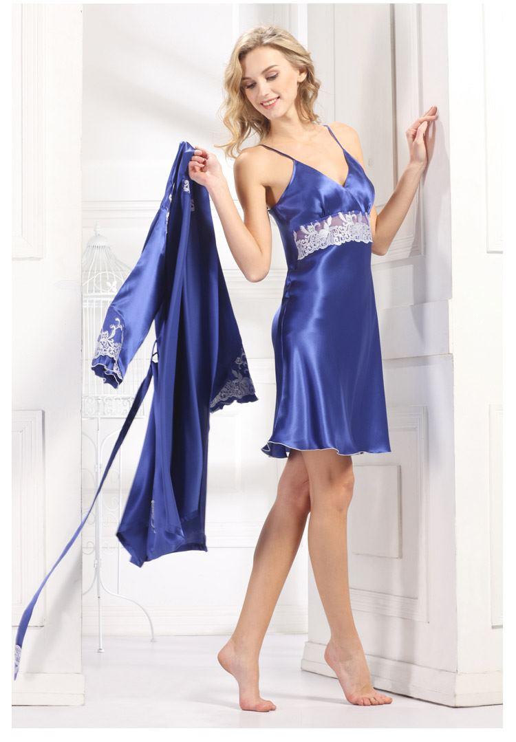 新款100%女士件套性感文案真丝绣花睡袍v女士情趣蕾丝桑蚕两吊带装纯色睡衣文艺情趣图片