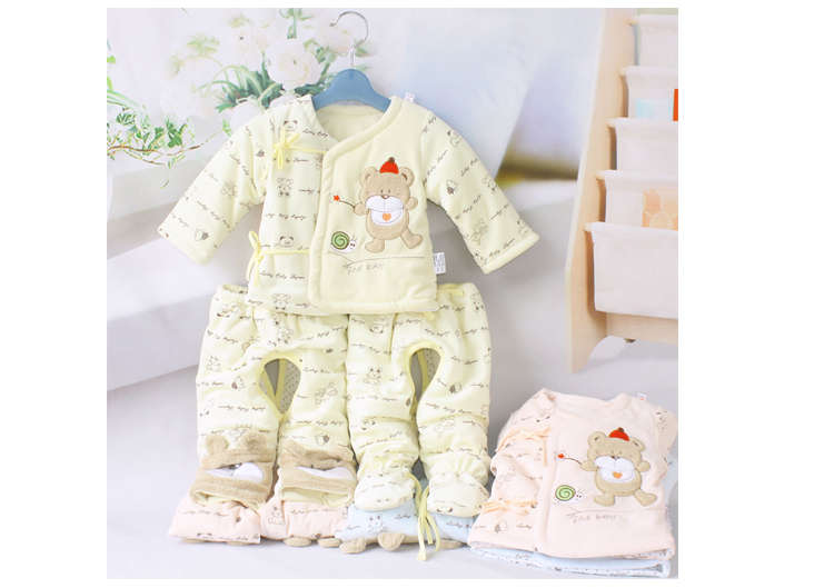 星呗熊 婴儿出生衣服秋冬季新生儿棉衣三件套宝宝棉袄