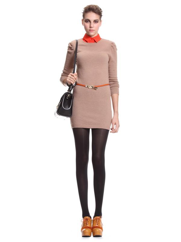 欧时力 欧美修身羊毛混纺长袖连衣裙