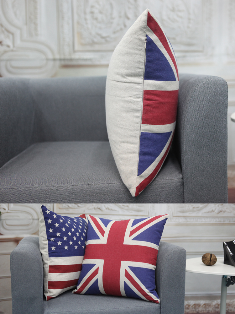 s&y 盛亚家居 冰岛国旗细麻抱枕45*45cm