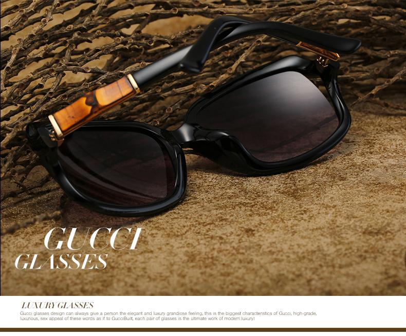 gucci古驰 时尚潮流女款太阳镜 大框镂空眼镜gg3685/f/s 6ub黑色