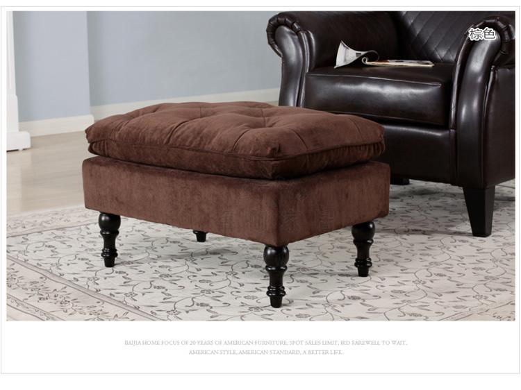 欧式布艺沙发凳 带拉扣脚踏