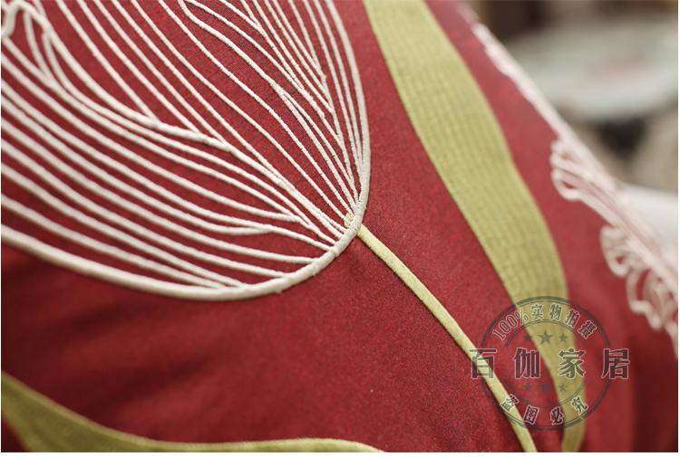 时尚布艺/ 郁金香绣花/红色沙发靠垫抱枕/床头靠枕