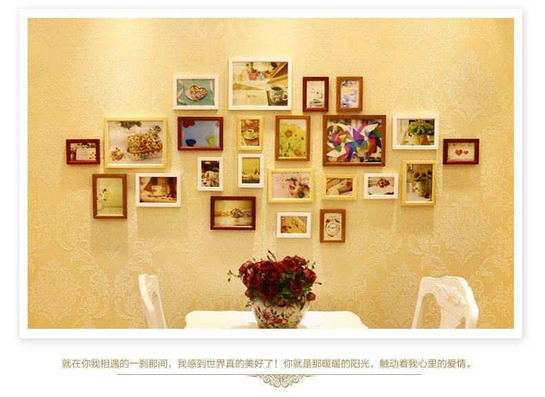 实木照片墙 欧式23框相片墙