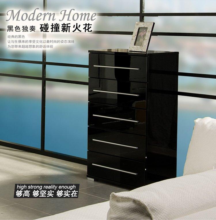 【优质三底两面钢琴烤漆工艺】homestar现代简约黑色高光五抽柜 收纳