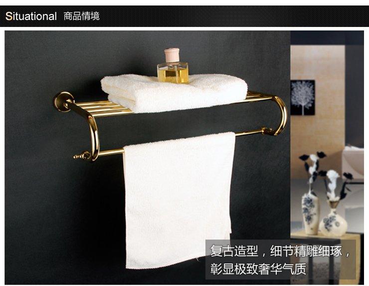 logoo 乐谷 浴巾架欧式风格全铜镀锆金奢华浴室挂件lg