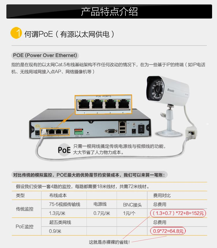 zmodo 智美达 4路 网线供电(poe) 720p高清视频 nvr 网络监控系统