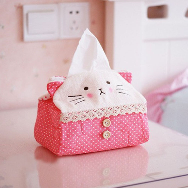 挚鑫 可爱布艺长方形熊猫纸巾抽 猫咪纸巾盒 格子熊猫