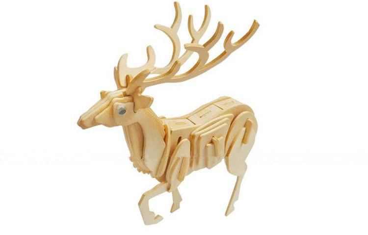 挚鑫diy木制拼图工艺摆件 仿真3d立体模型动物世界模型-鹿