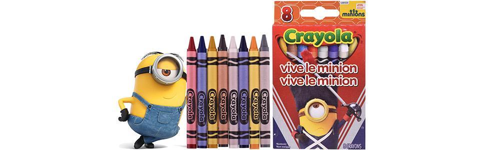 crayola 绘儿乐 小黄人蝙蝠造型8色彩色蜡笔 美国进口