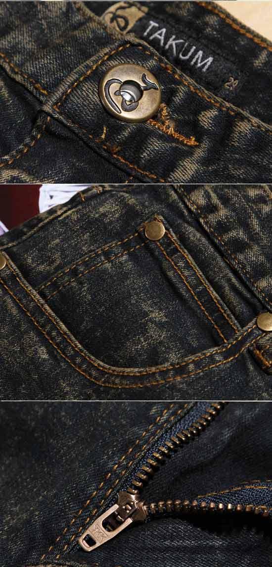 黑色大理石花纹窄版做旧高弹性修身小脚牛仔裤
