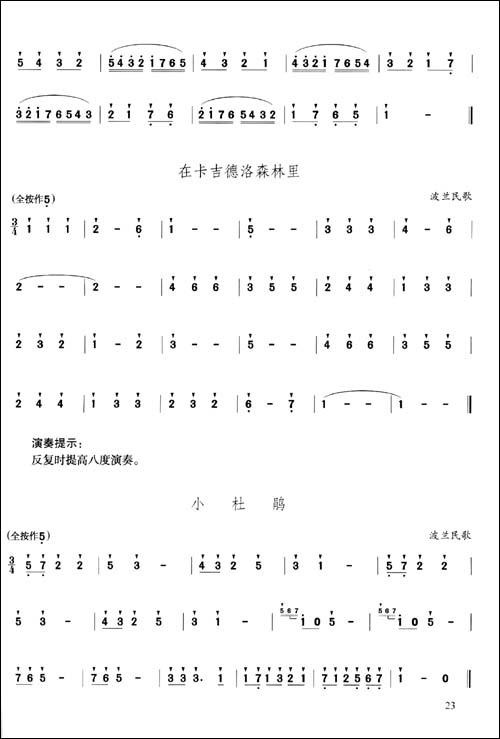 笛子曲谱符号表