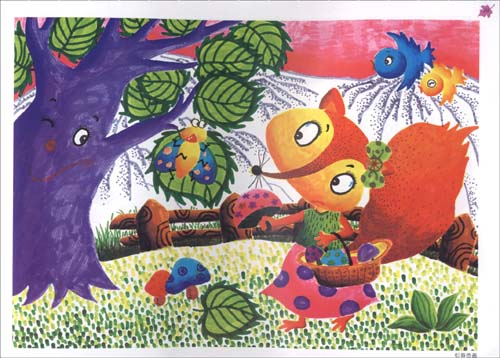 小兔和蘑菇房简笔画