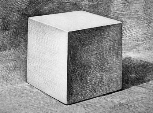 素描入门正方体画法图片大全 素描入门之正方体的画法 在线图片