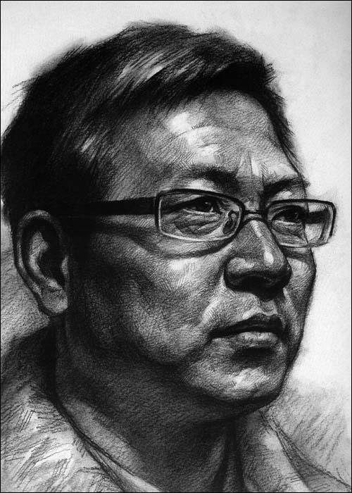 山西美术联考高考素描头像题材-正面男老年素描头像