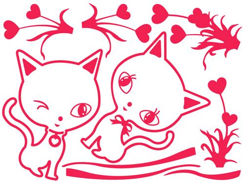 韩国ecoworldgps-059爱心猫(红色)il09160r墙贴