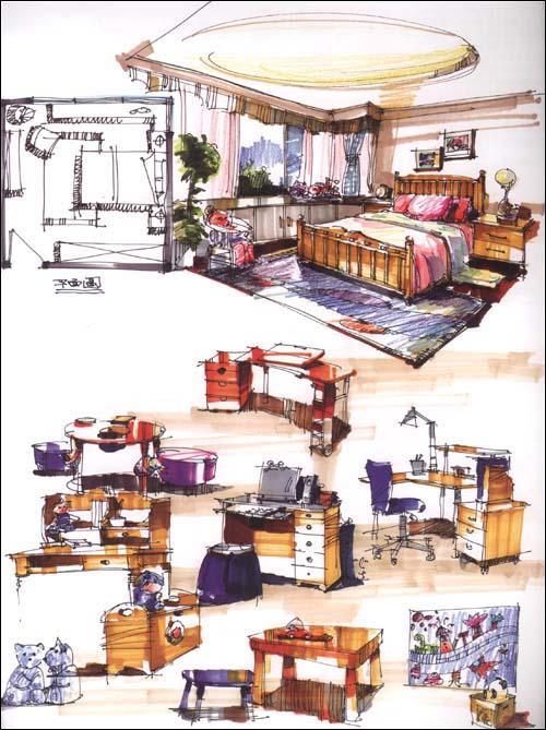 完全绘本61室内设计草图手绘笔记本:亚马逊:图书