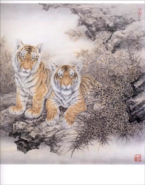 工笔老虎画法 秦学研图片