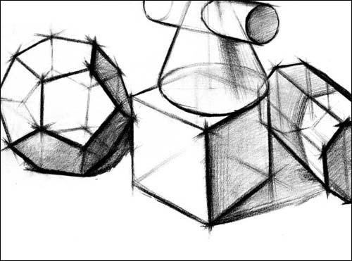 教程 素描几何形体与素描静物图片