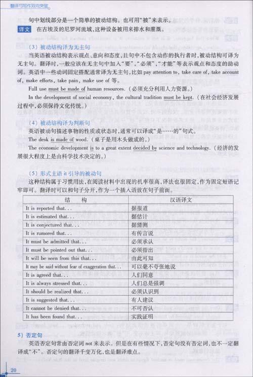 2)英译汉试题的句型结构