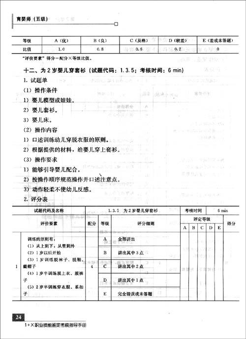 1+X职业技能鉴定考核指导手册•育婴师
