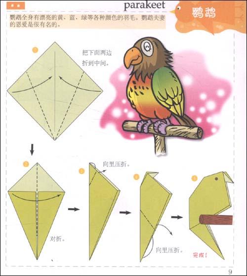 儿童折纸图解孔雀