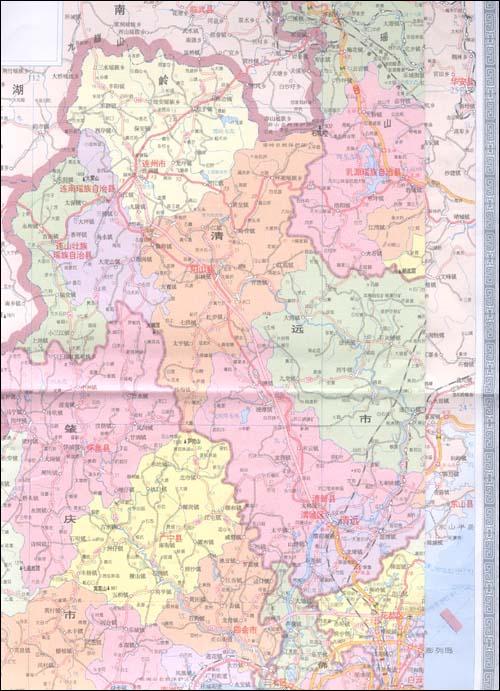 广东省高清英文地图