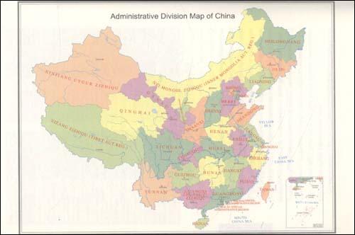 中国地图英文版省份