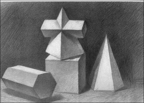 石膏几何体素描教程图片