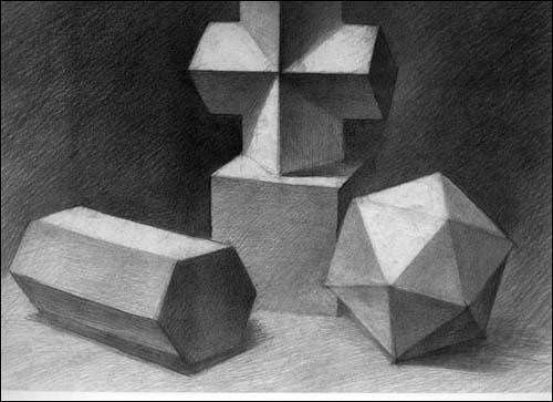 石膏几何体素描教程