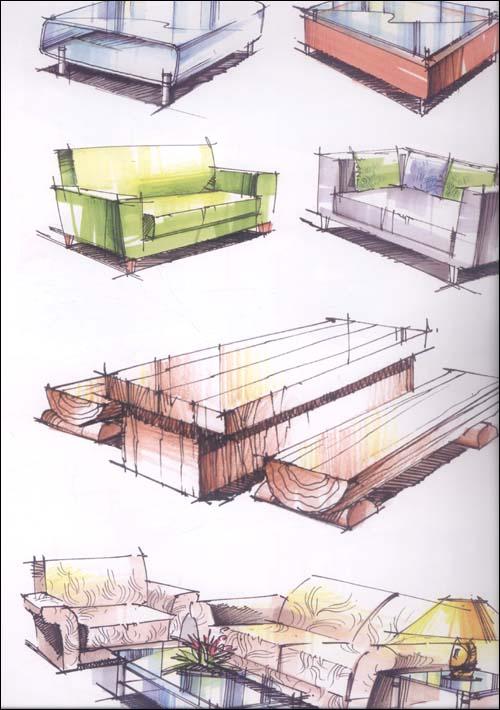 正版书—环境艺术设计手绘效果图训练范本:单体陈设表现手绘画册