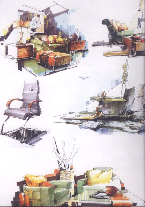 环境艺术设计手绘效果图训练范本:单体陈设表现手绘(1