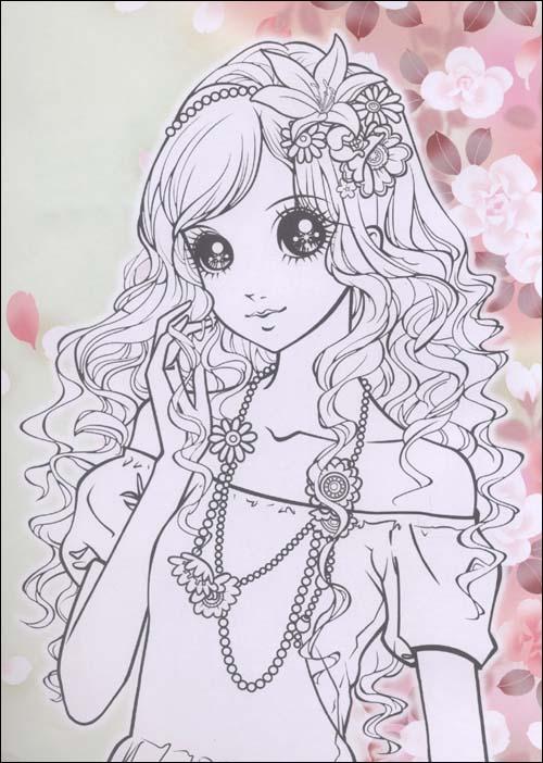 儿童公主涂色画; 俏公主涂色:时尚公主