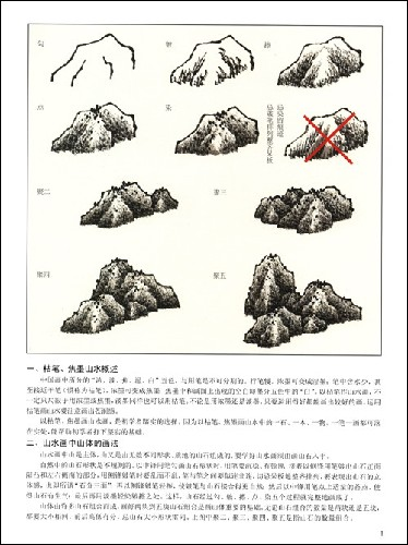 山水画树的画法; 触类旁通(焦墨枯笔山水)/中国画技法新解/徐永万