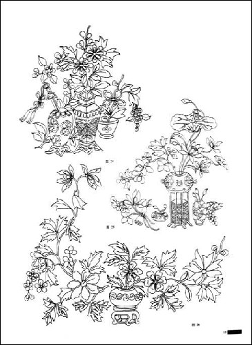 吉祥植物:梅兰竹菊,牡丹,月季等花卉,藕,石榴,桃,佛手等蔬果.