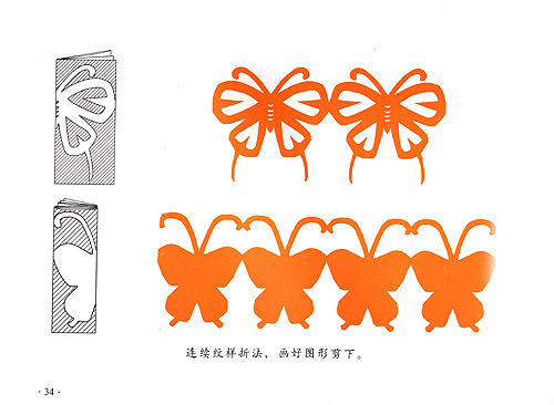 (二)上下左右对边折法 (三)连续纹样折法 (四)三瓣花折法 (五)四瓣花