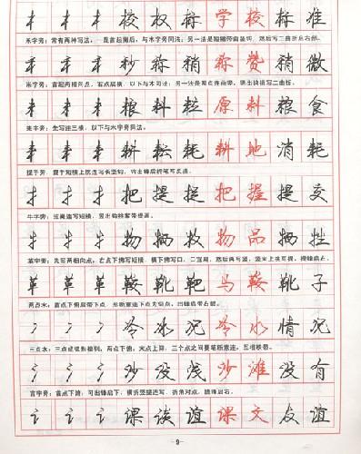 钢笔字帖行楷字模板