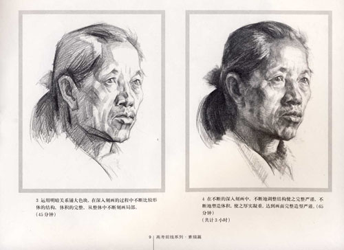 瘦老人头像 素描