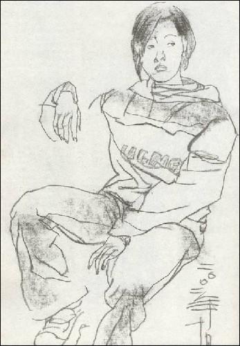 日本手绘黑白线描插画