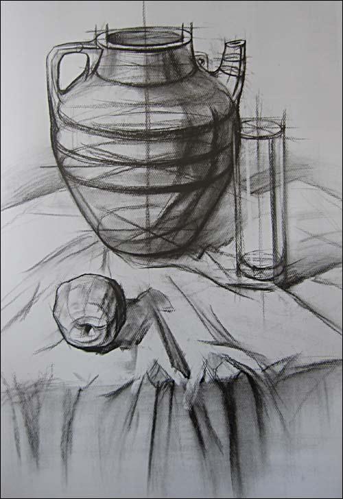 结构素描范本:组合静物