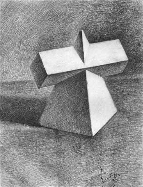 长方体,正四 棱柱 六棱柱 素描 静物- 六棱柱体 写生步骤 六棱柱体 体图片