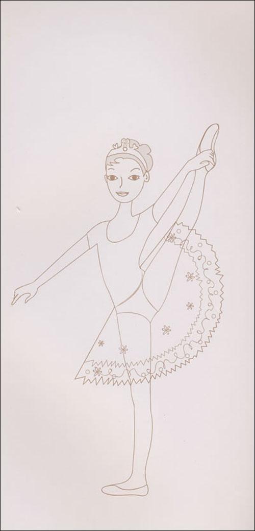 人物简笔画(跳芭蕾舞的少女)
