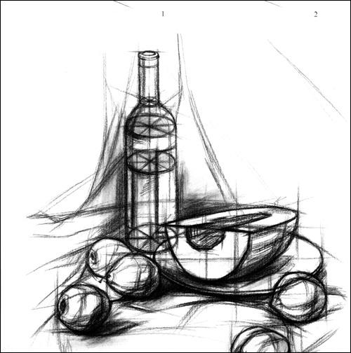 素描 教程: 静物 白菜的 画法 素描静物 :亚马 画法 :结构与明暗 素描图片
